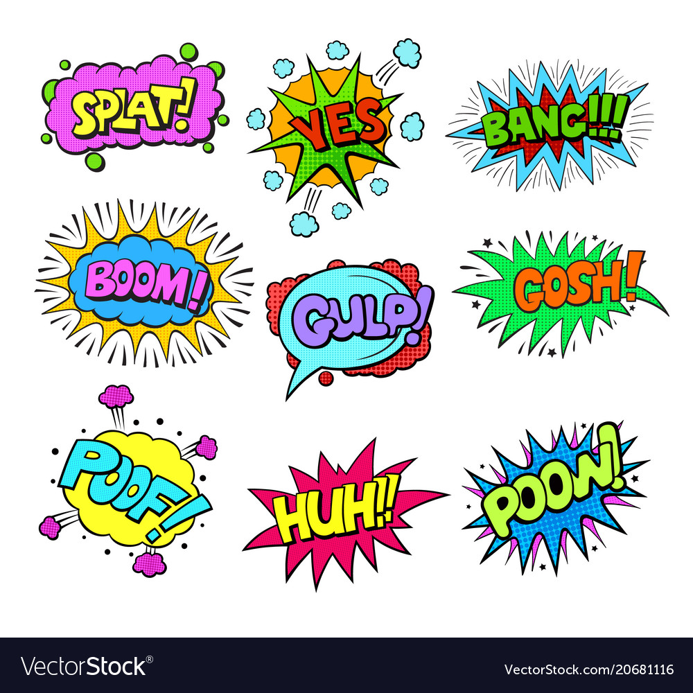 Set of pop art style colorful comic exclamations vector image