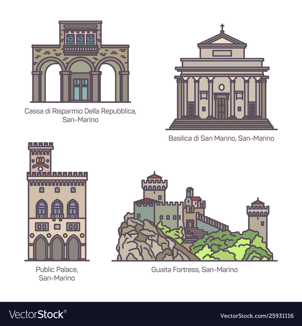 Set san marino famous monuments in line
