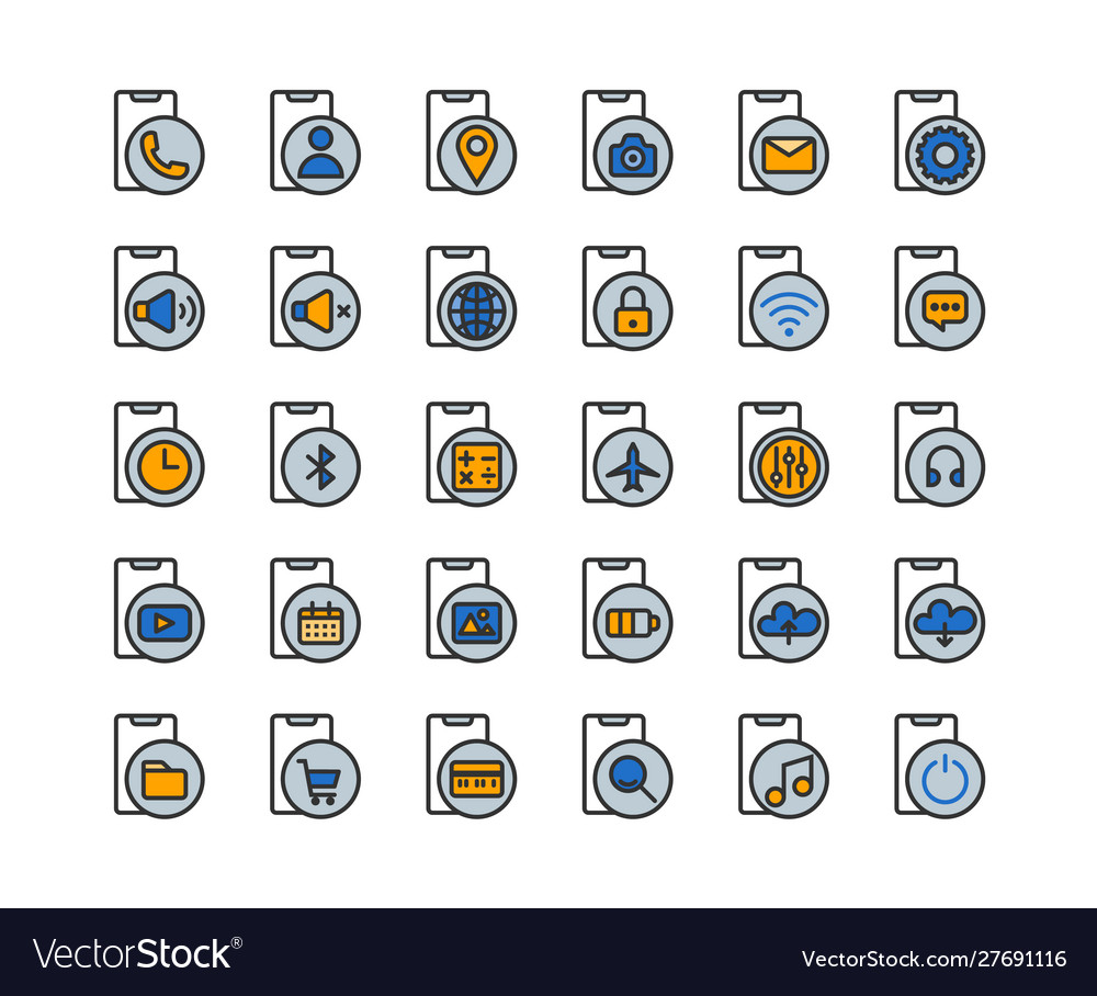 Smartphone functions and apps filled outline icon
