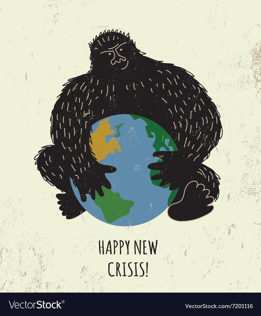 Threat world crisis placard black gorilla color vector image