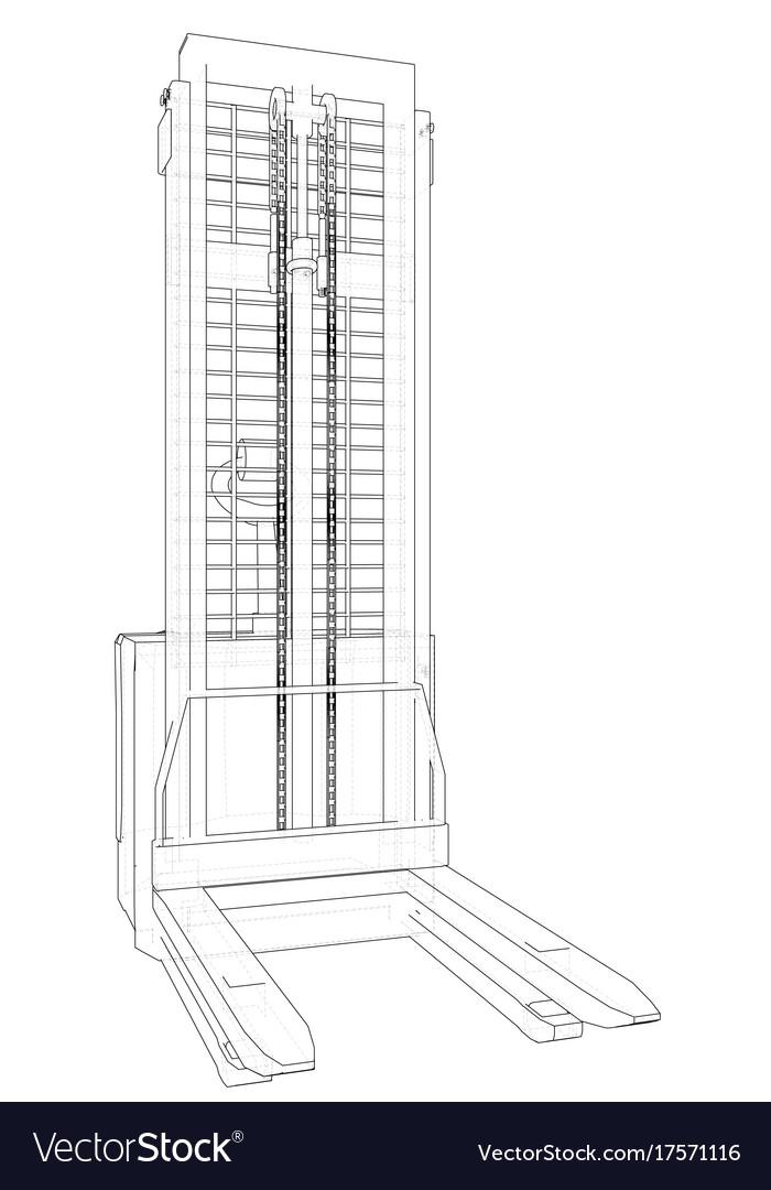 Warehouse forklift wire-frame eps10 format Vector Image