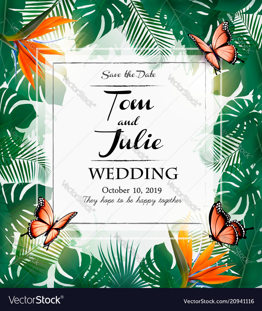 Wedding invitation design with exotic leaves