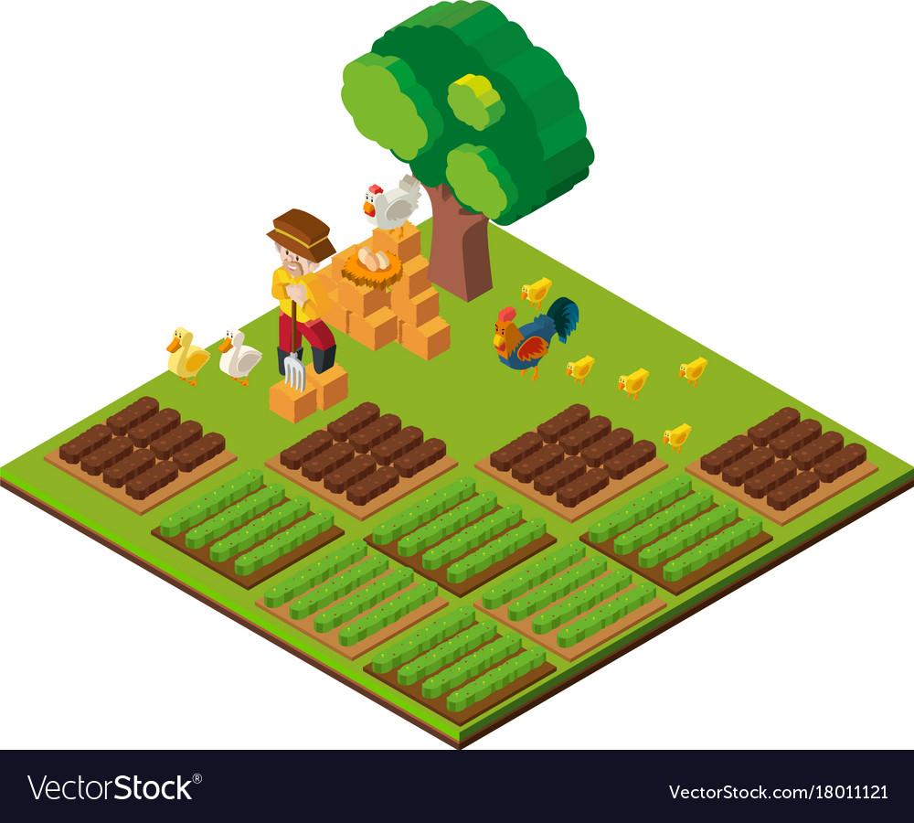 3d Design For Farmer And Farmland Royalty Free Vector Image