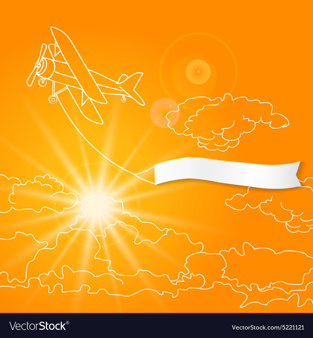 Airplane with blank banner flying in the sunny