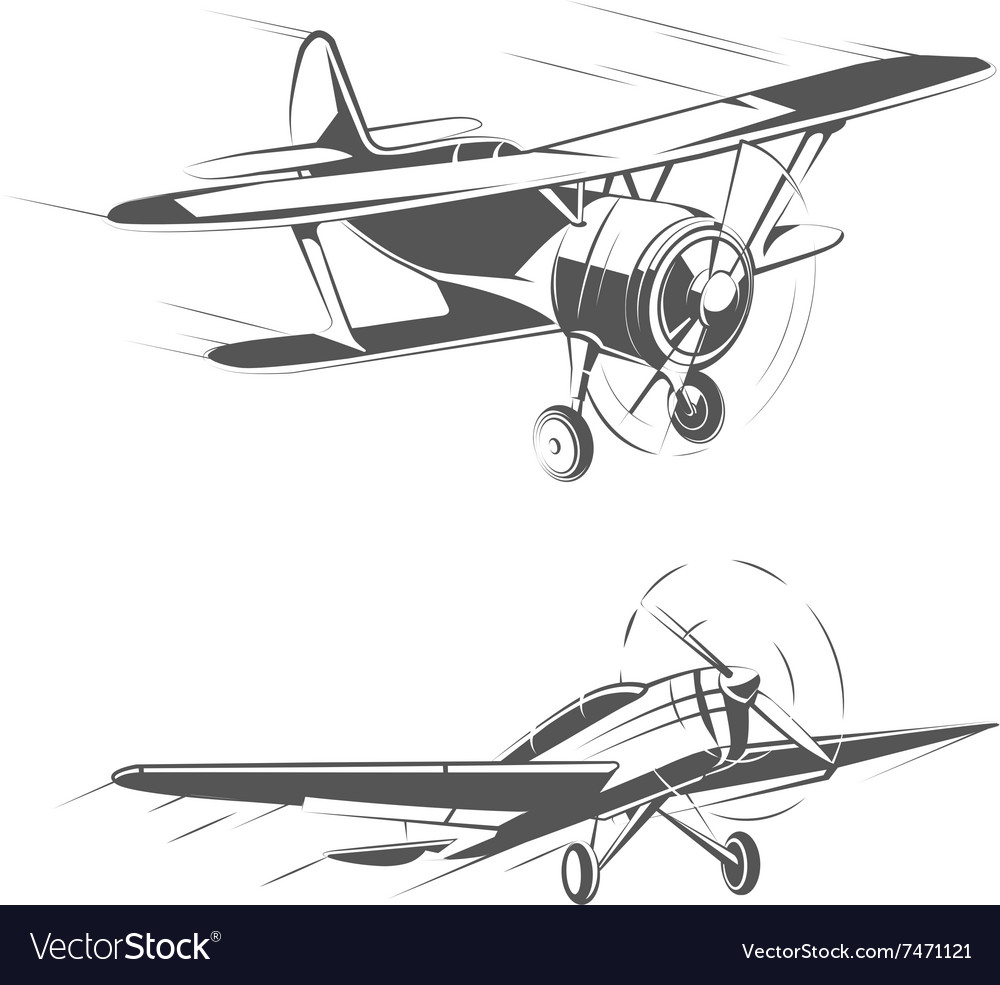 Biplane and monoplane aircrafts for vintage