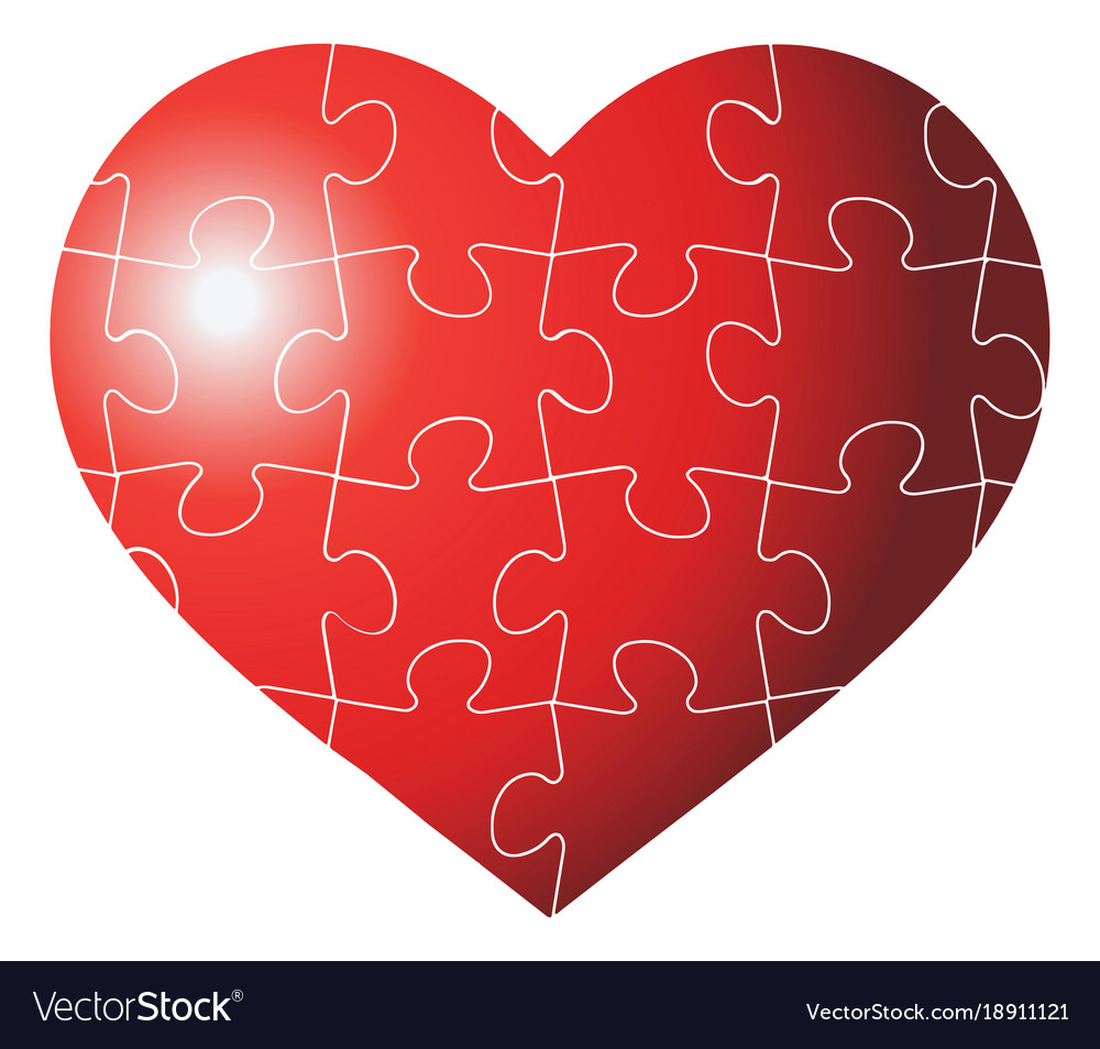 Colorful heart shaped puzzle graphic