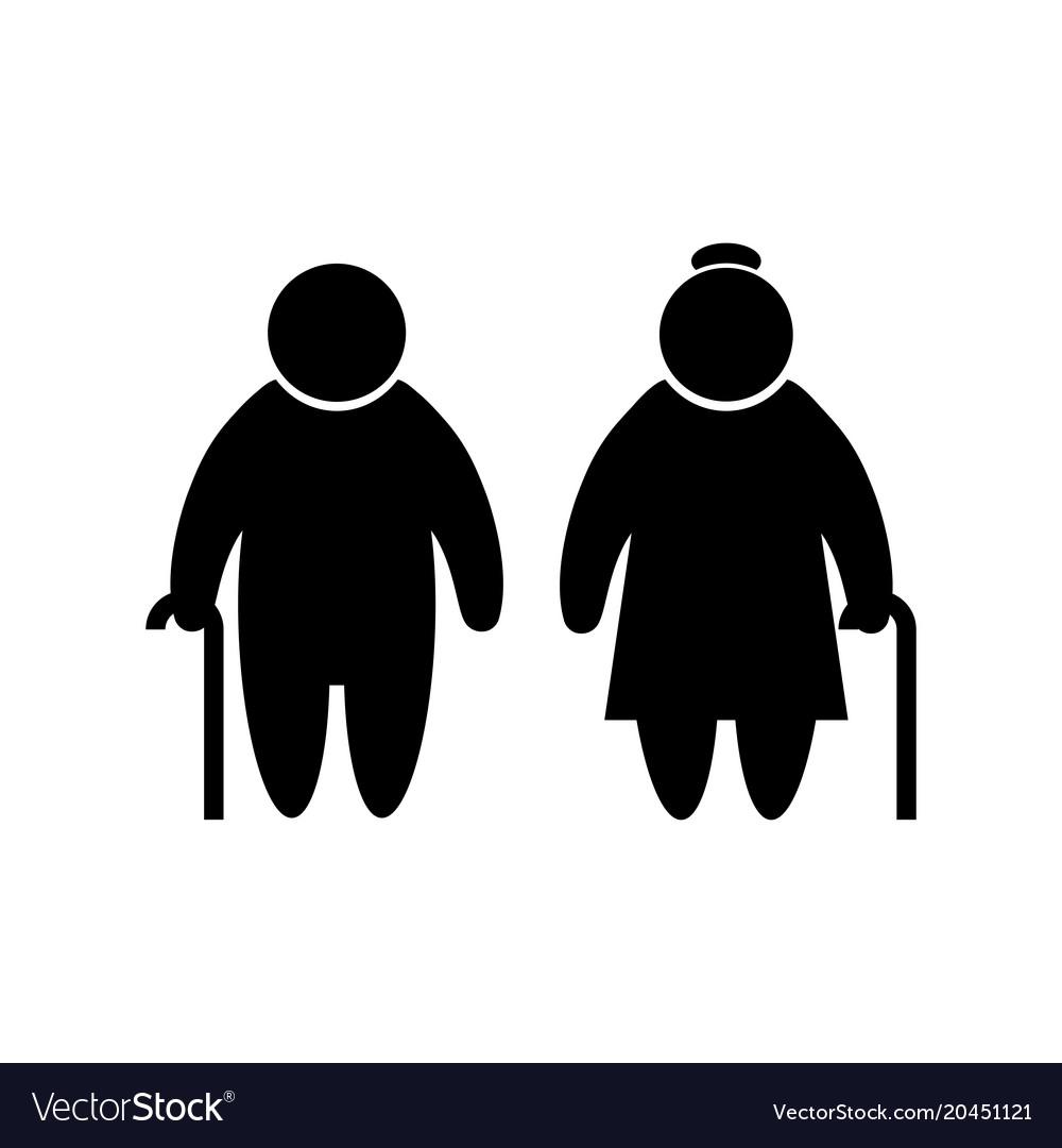 Elder people icon in flat style old men simbol