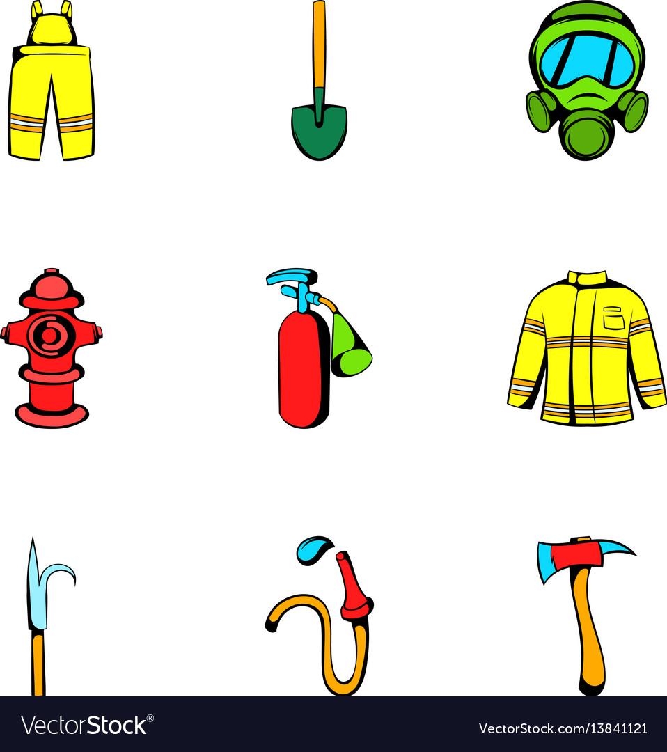 Fire icons set cartoon style