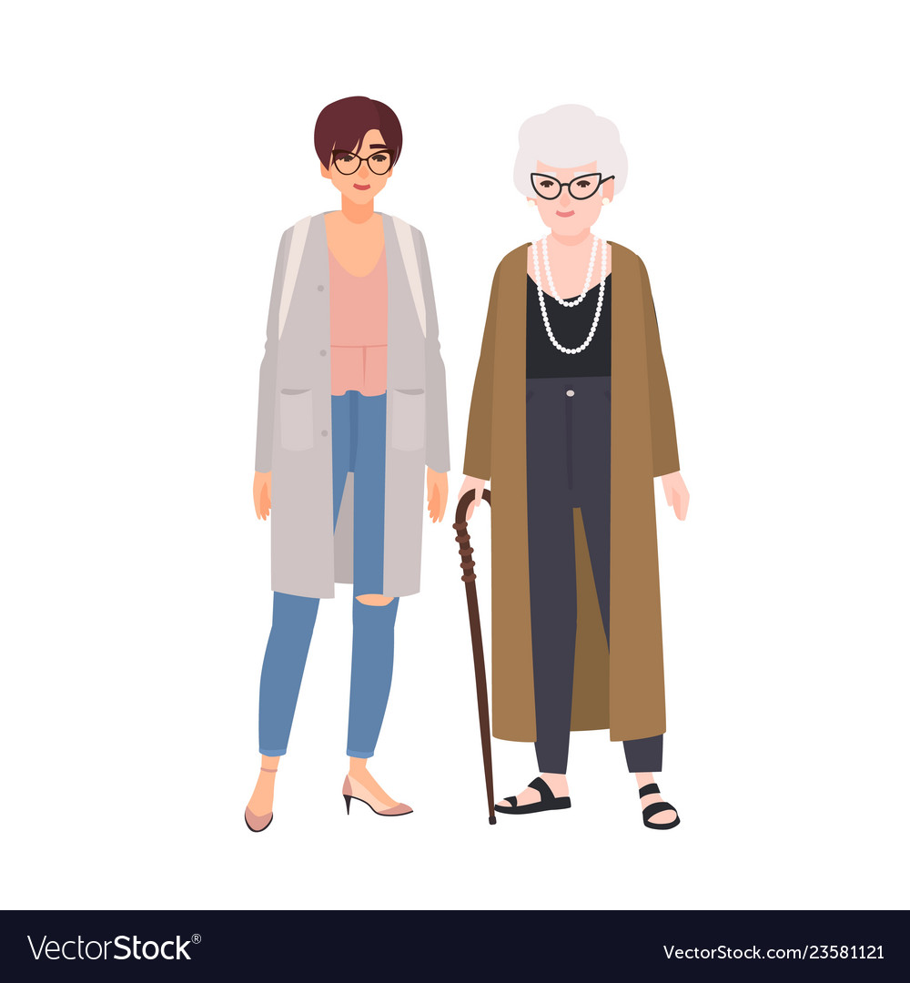Funny grandmother and granddaughter standing and