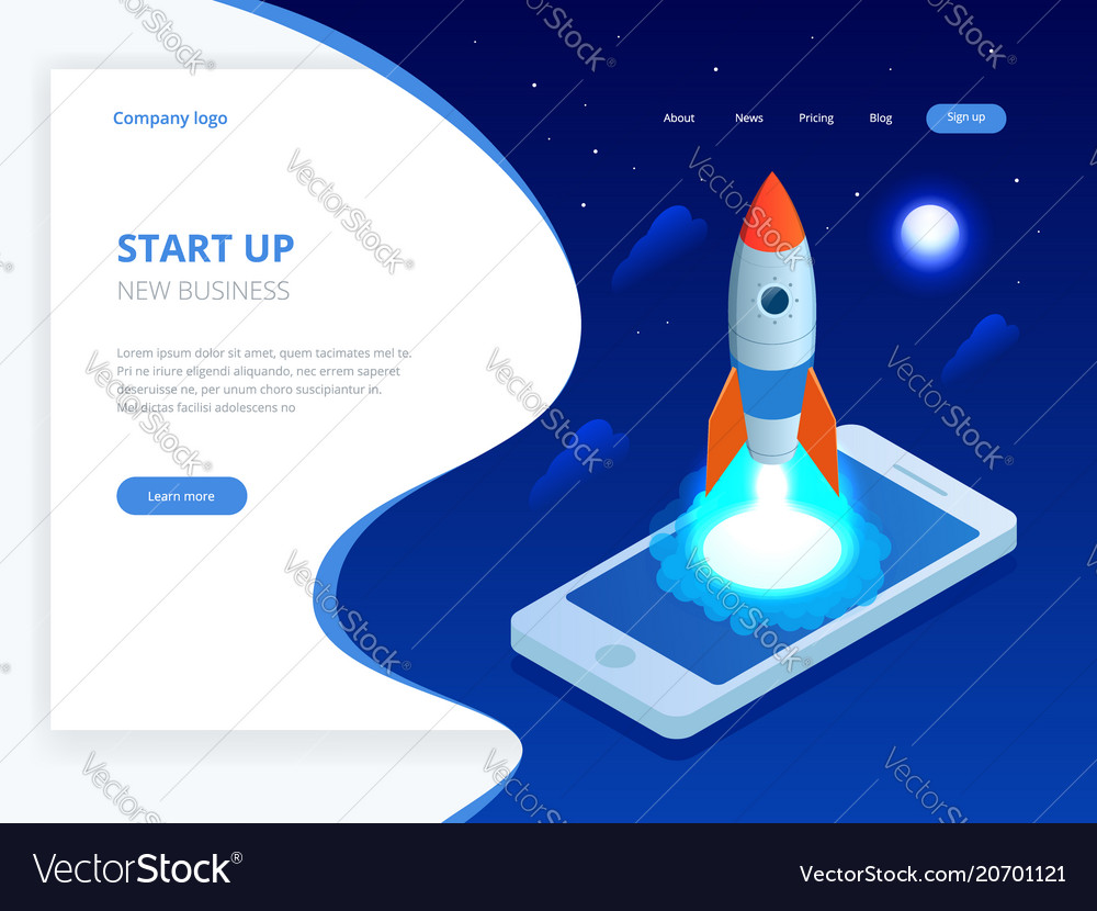 Isometric start up concept income and success