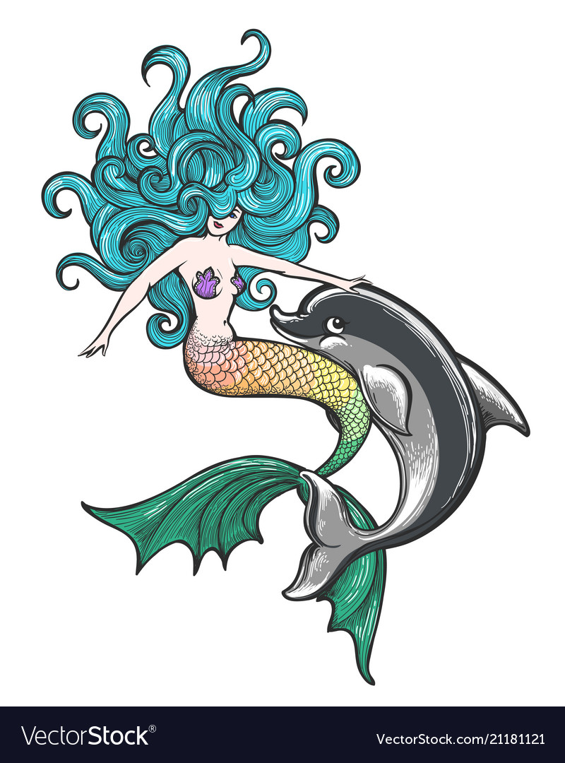 Mermaid with dolphin baby