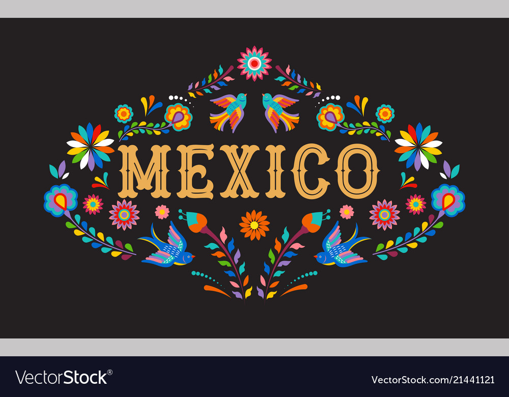 Mexico background banner with colorful mexican