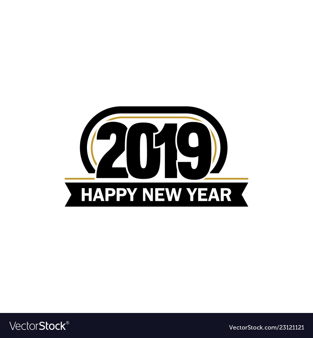 New year unusual label 2019 year symbol