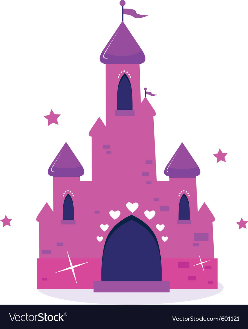 pink princess cartoon castle isolated on white vector image rh vectorstock com castle cartoon pictures sand castle cartoon images