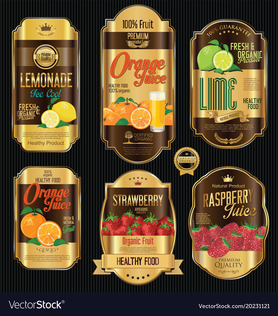 Retro vintage golden labels for organic fruit