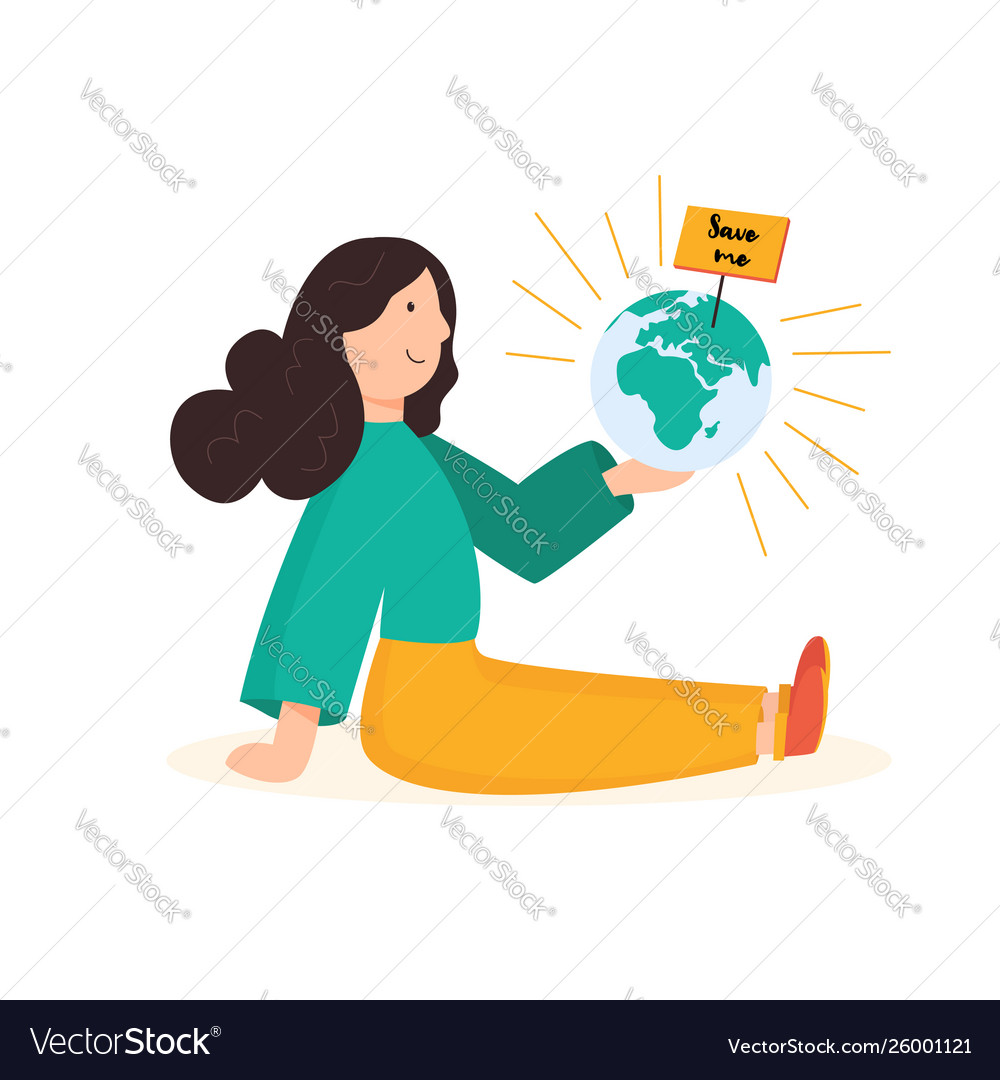 Save planet concept young girl holding globe