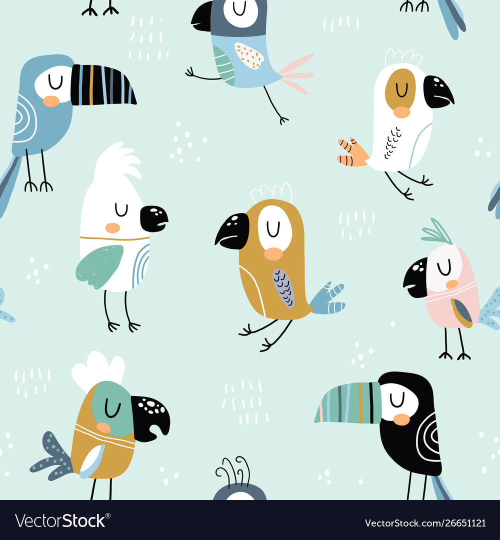 Seamless childish pattern with colorful parrots