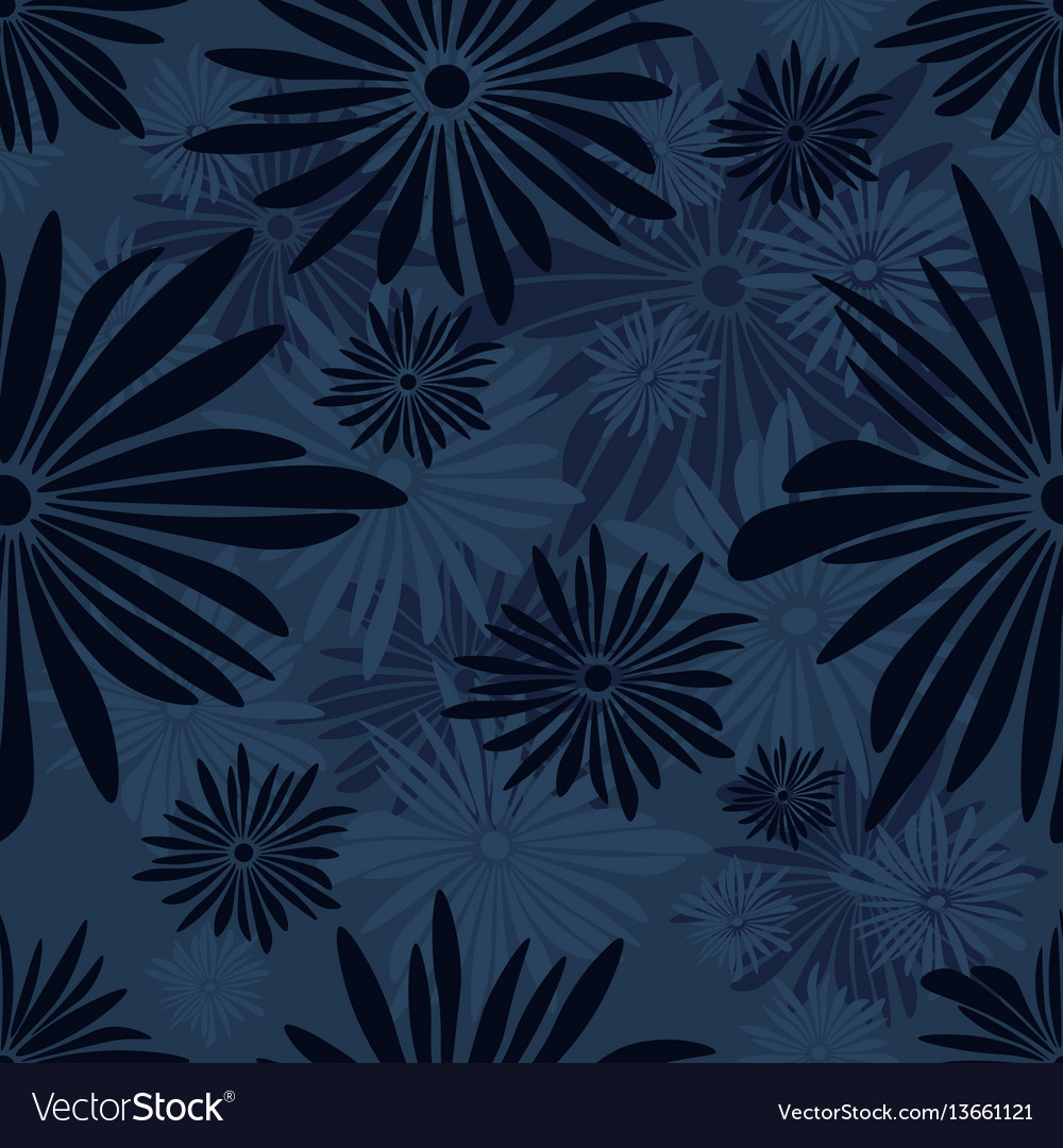 Seamless floral pattern with dark and light blue