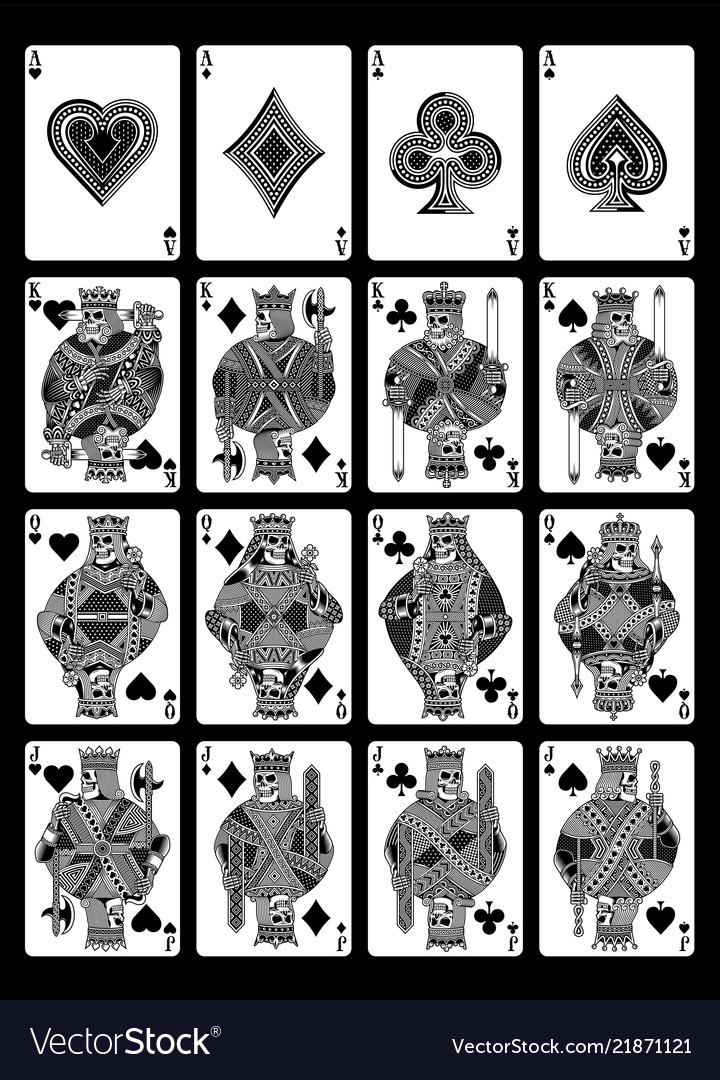2fc4fa892 Skull playing cards set in black and white Vector Image