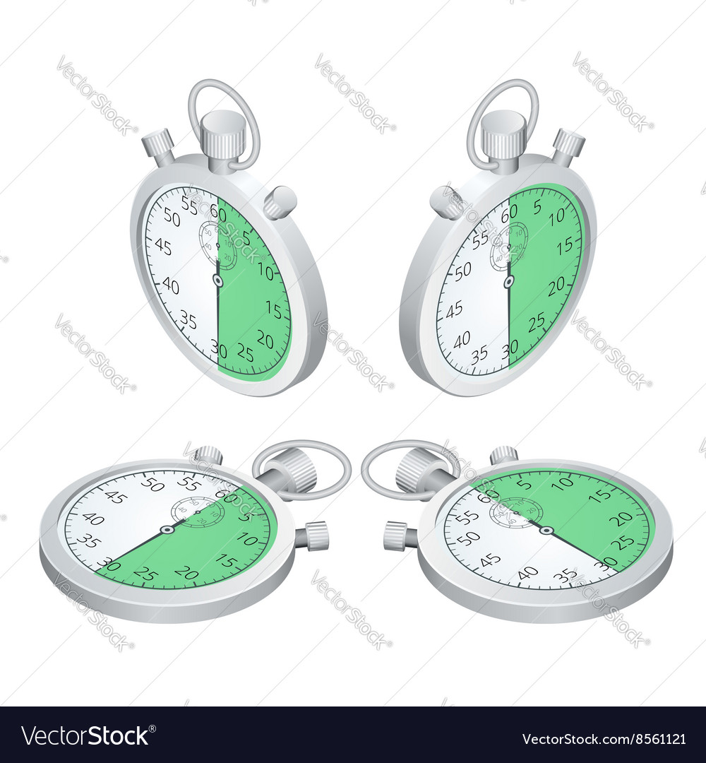 Stopwatch Set of timers Time to work Time is vector image on VectorStock
