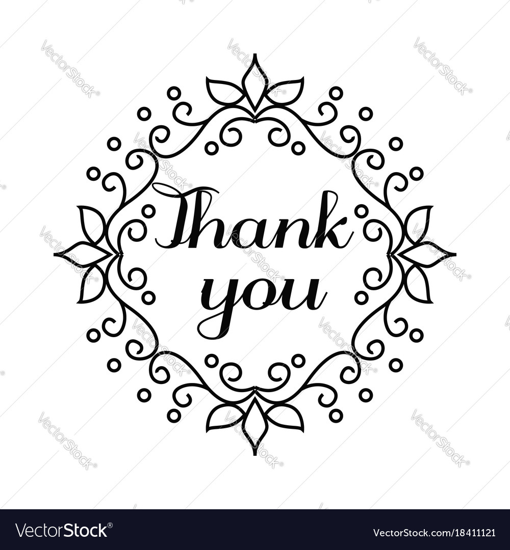 Thank You Lettering In Hand Draw Frame Royalty Free Vector