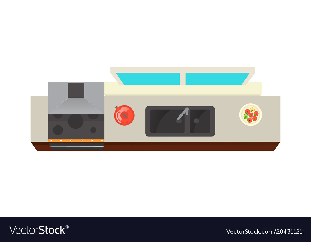 Top View Kitchen Interior Element Royalty Free Vector Image
