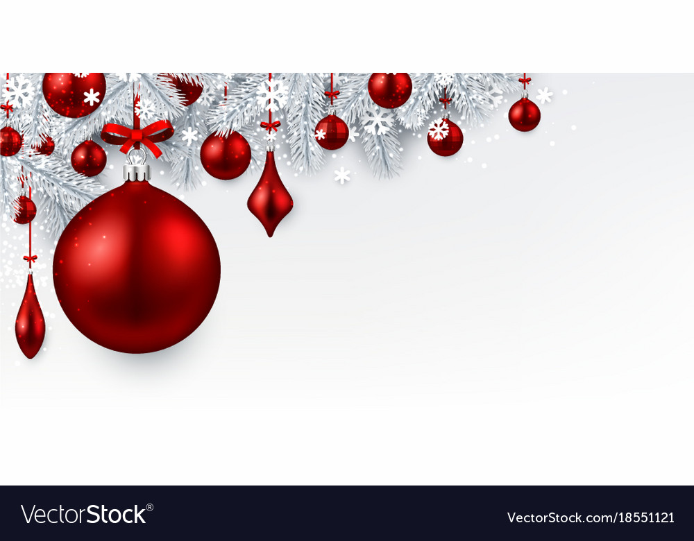 White Background With Red Christmas Ball