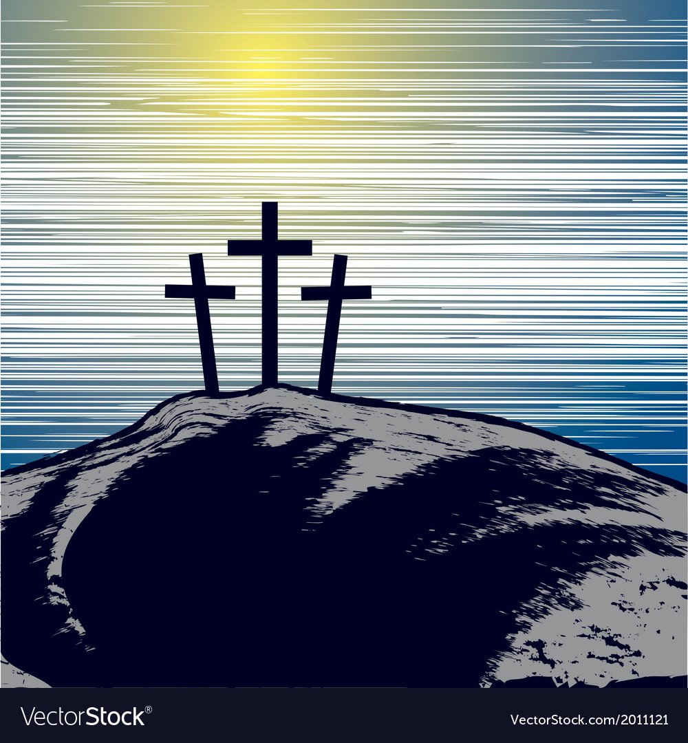 With mountain with three crosses vector image