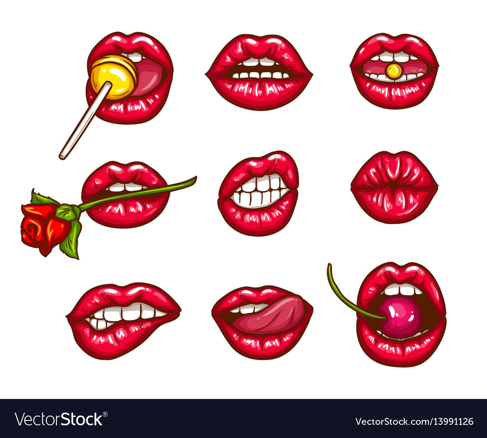 A Collection Of Pop Art Icons Of Red Female Lips Vector Image