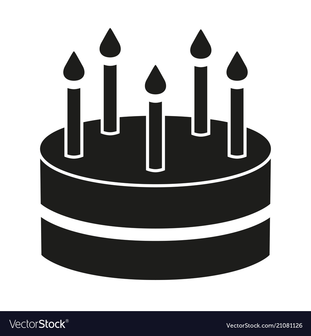 Black And White Birthday Cake 5 Candles Silhouette