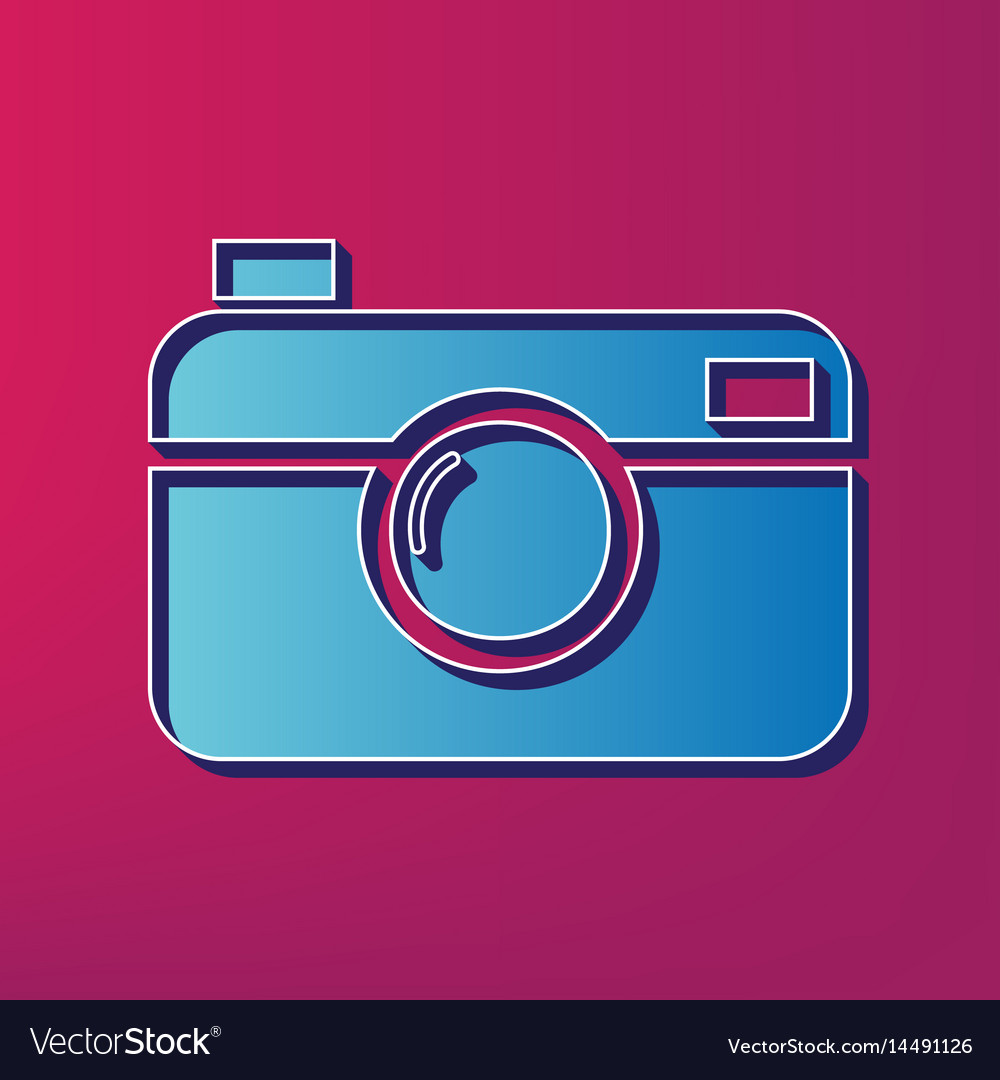 Digital photo camera sign blue 3d printed vector image