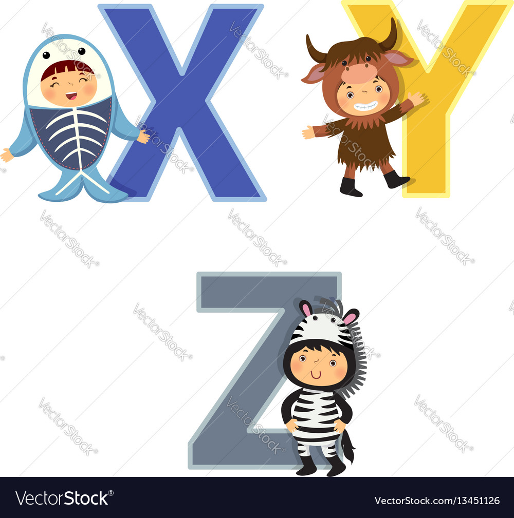 English alphabet with kids in animal costume x-z