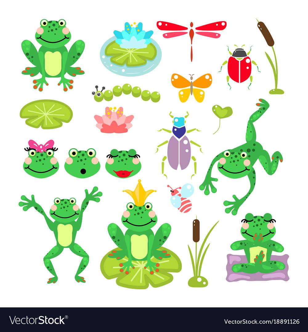 Frogs cartoon green clip-art set