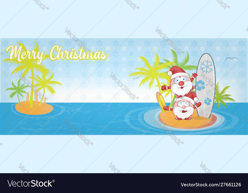 Fun santa claus cartoon on island with surf banner