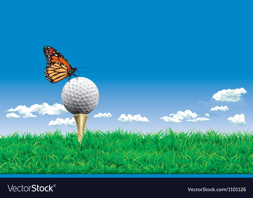 Golf ball on a tee simple golf background