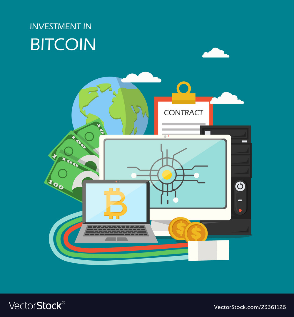 Investment in bitcoin concept flat