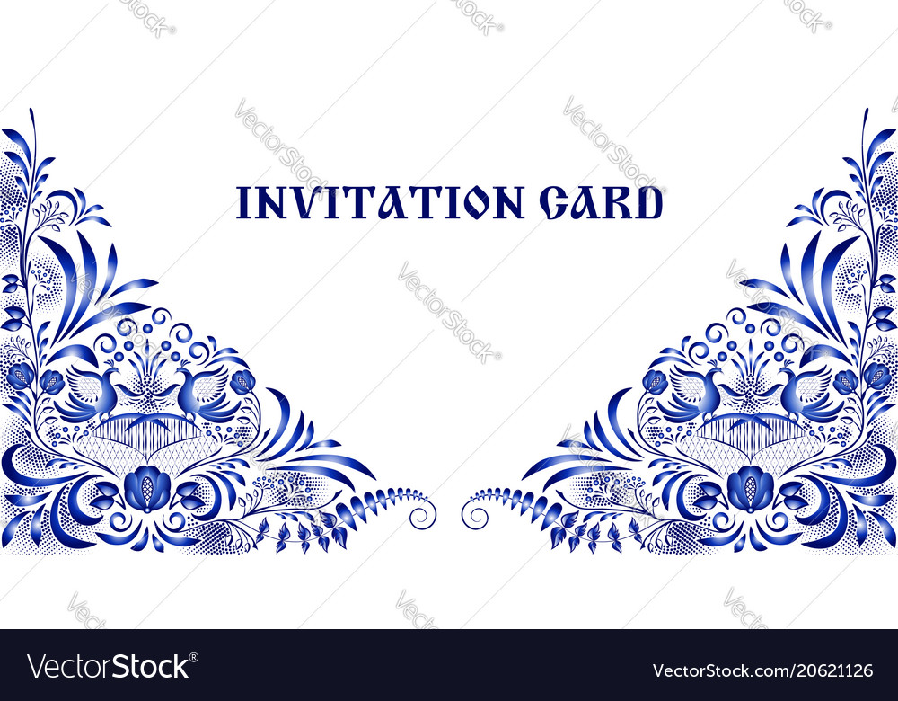 Invitation card in style of national painting on