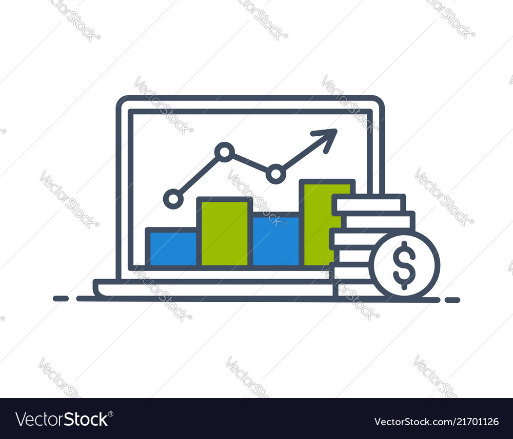 Laptop screen with data analysis and coins