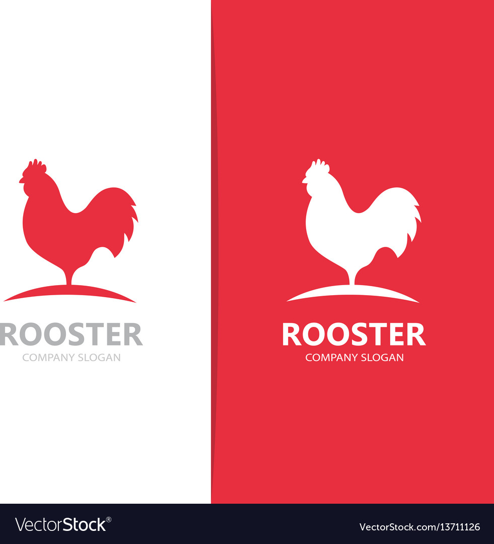 Red rooster logo combination cock and