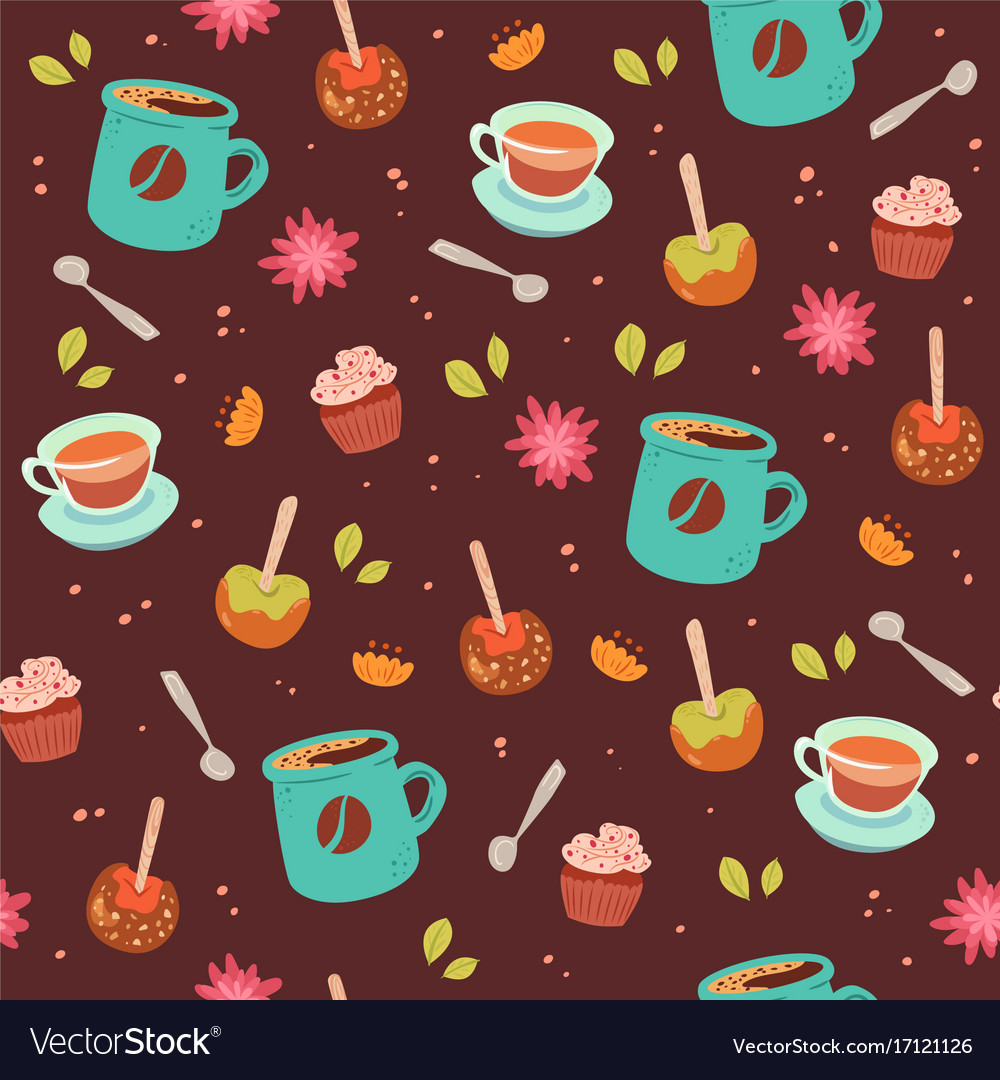 Tea and coffee cute seamless pattern