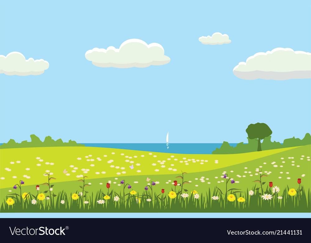 A rural cute landscape a beautiful view fields