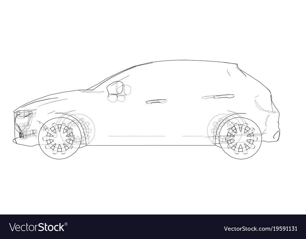 Car outline drawing Royalty Free Vector Image - VectorStock