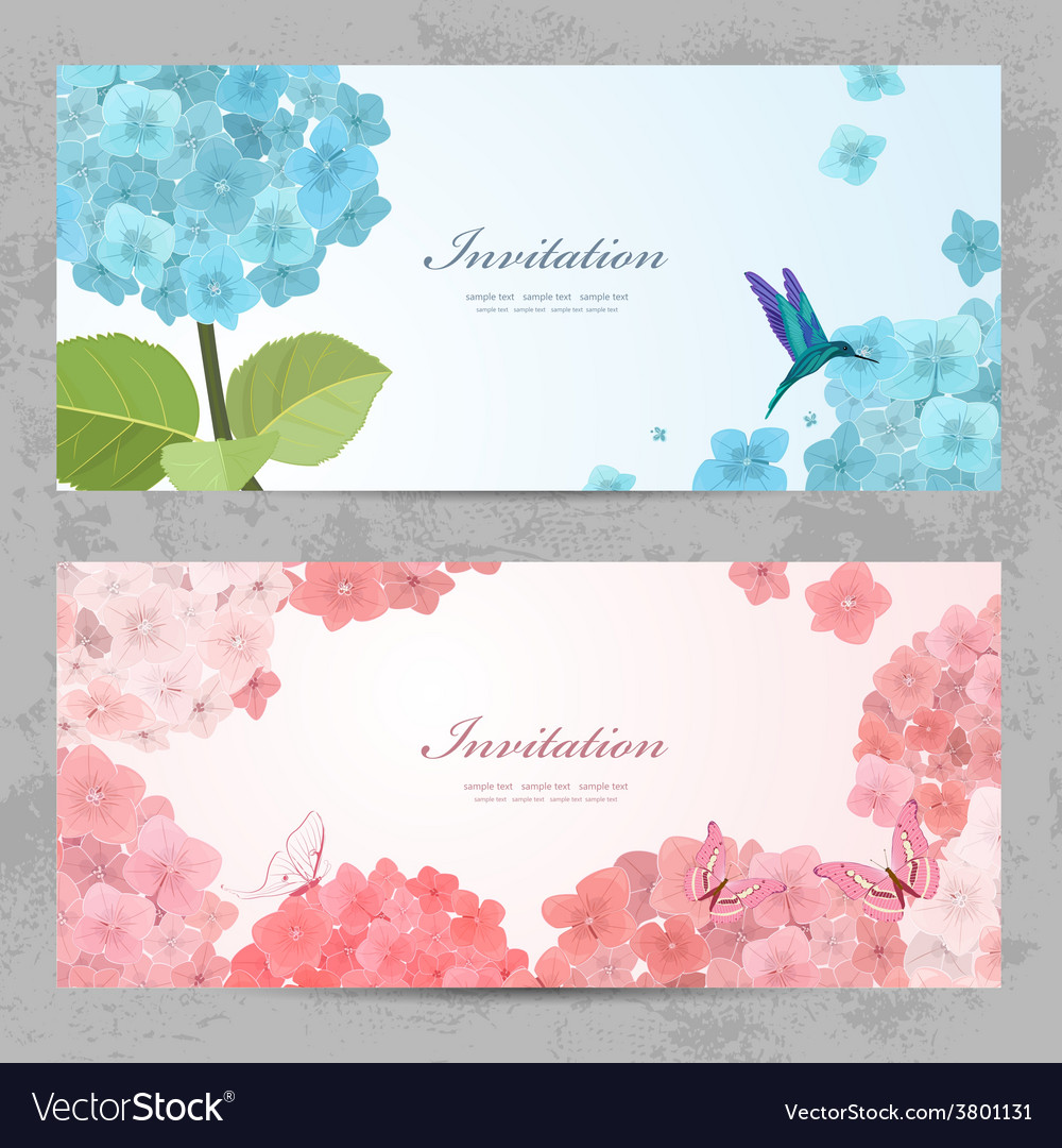 Collection of beautiful romantic banners hydrangea