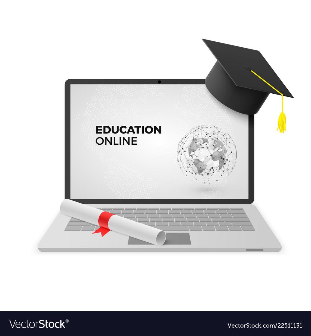 Education online concept laptop with graduation