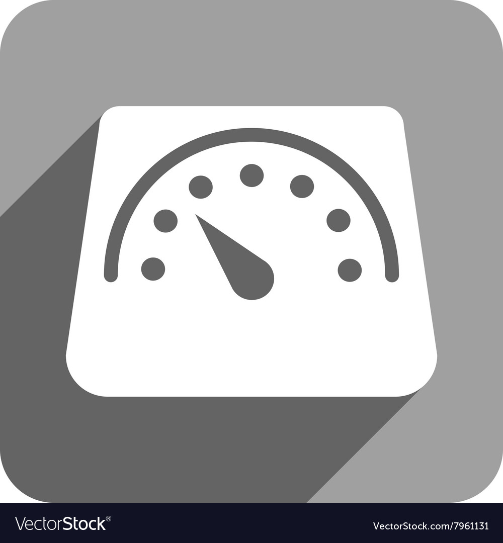Floor Weight Meter Flat Square Icon With Long Vector Image