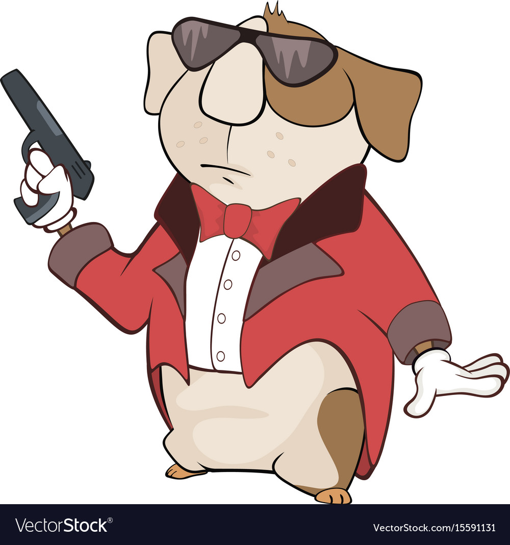 Guinea pig gangster cartoon