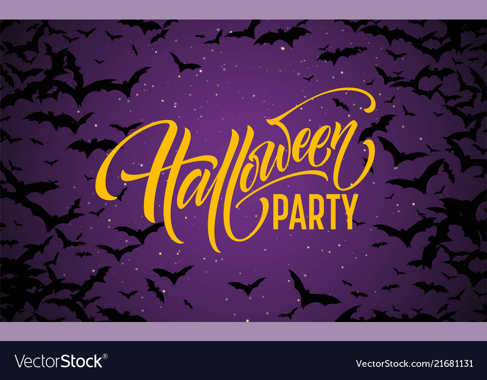 Halloween glowing night background with bats