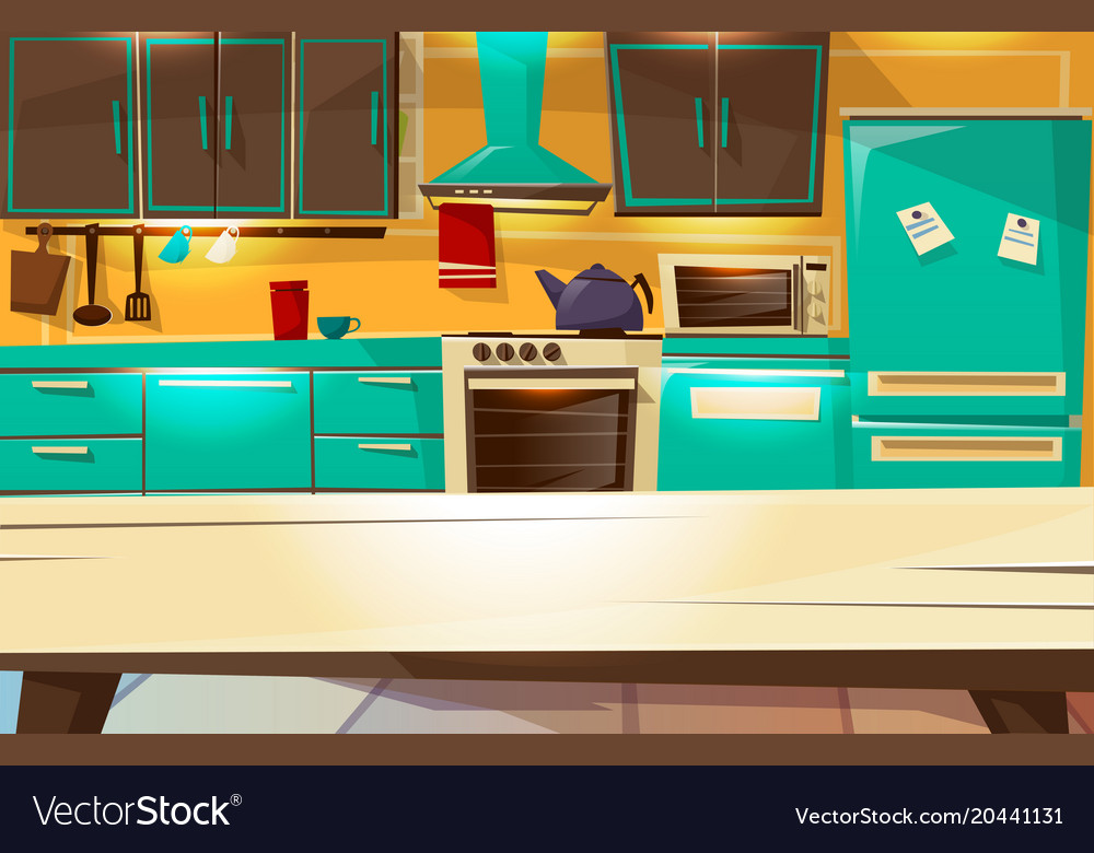 Kitchen interior background cartoon Royalty Free Vector