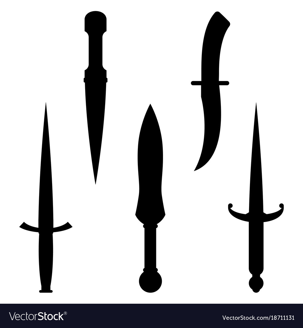 Set of dagger knives black silhouettes with very