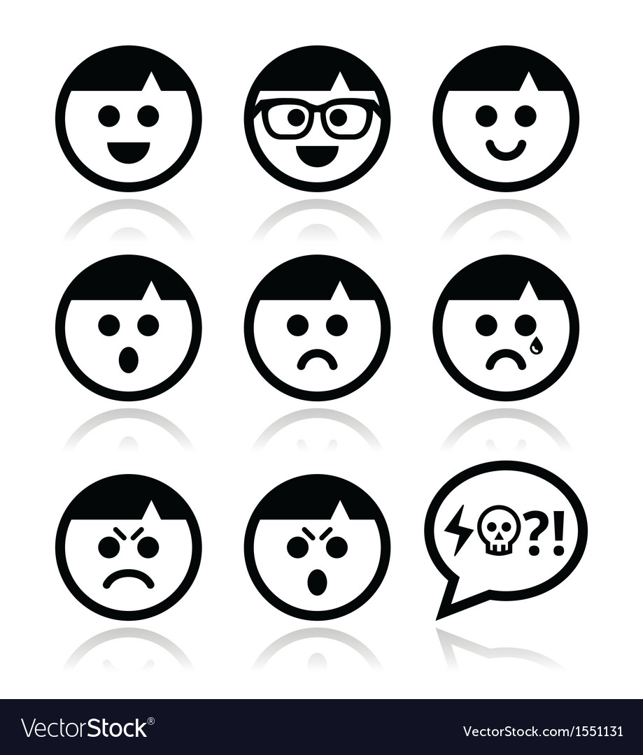 Smiley faces avatar icons set